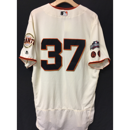 Photo of San Francisco Giants Kelby Tomlinson 2016 Game-Used Postseason Home jersey (size 46, authenticated NLDS Game #3 and NLDS Game #4 vs Cubs)