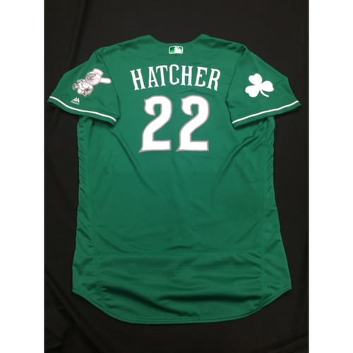 Photo of Billy Hatcher -- Game-Used -- Irish Heritage Jersey -- Worn for Bronson Arroyo Farewell Game -- Red Sox vs. Reds -- 9/23/17