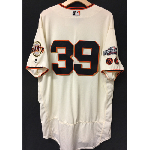 Photo of San Francisco Giants Roberto Kelly 2016 Game-Used Postseason Home jersey (size 50, authenticated NLDS Game #3 and NLDS Game #4 vs Cubs)