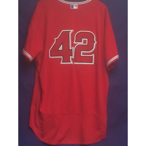 "Photo of Albert Pujols Game-Used ""42"" Jersey - 4/15/17"