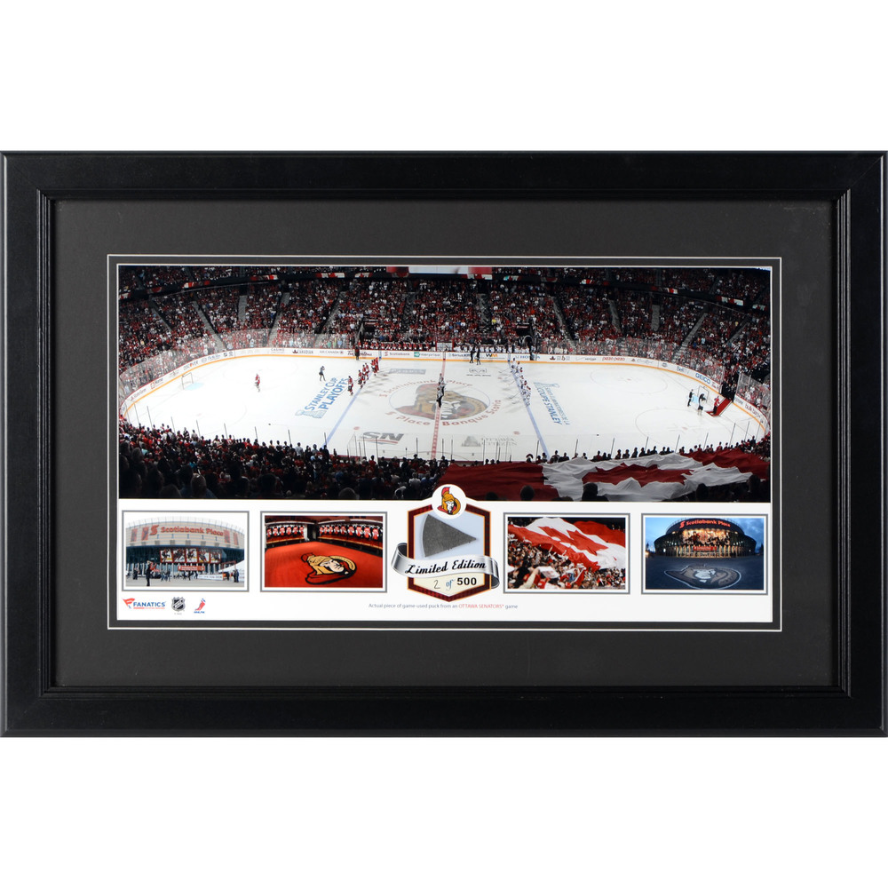 Canadian Tire Centre Ottawa Senators Framed Panoramic Collage with Game-Used Puck-Limited Edition of 500