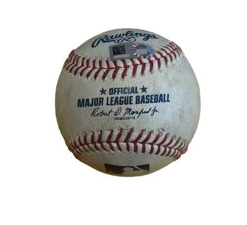 Photo of Game-Used Baseball from Pirates vs. Cubs on 9/7/17 - Strikeout Looking by Zobrist, 3 Pitches to Schwarber