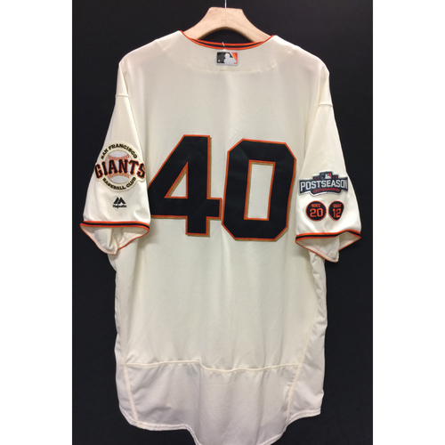 Photo of San Francisco Giants Madison Bumgarner 2016 Game-Used Postseason Home jersey (size 50, authenticated NLDS Game #3 and NLDS Game #4 vs Cubs)