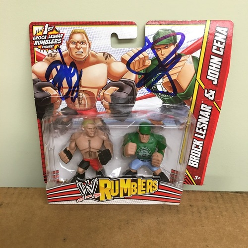 Photo of John Cena & Brock Lesnar SIGNED WWE Rumblers Figure 2-Pack