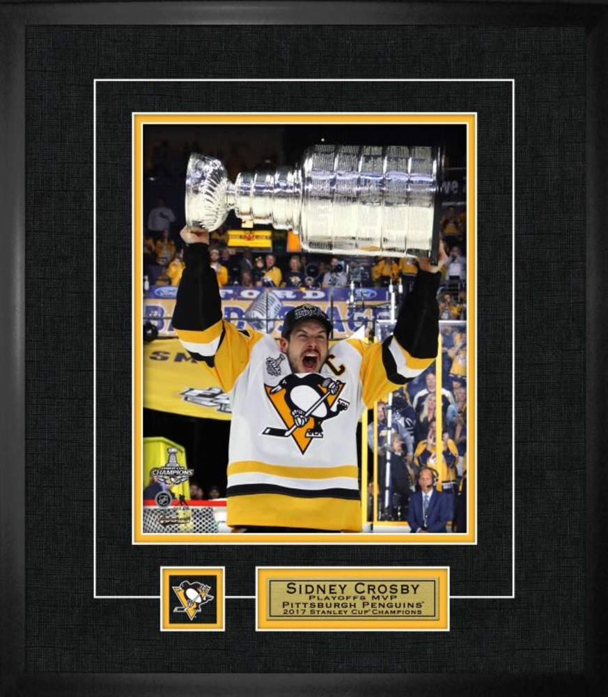 Sidney Crosby - Framed 8x10 Photo & Logo Frame Penguins 2017 Stanley Cup