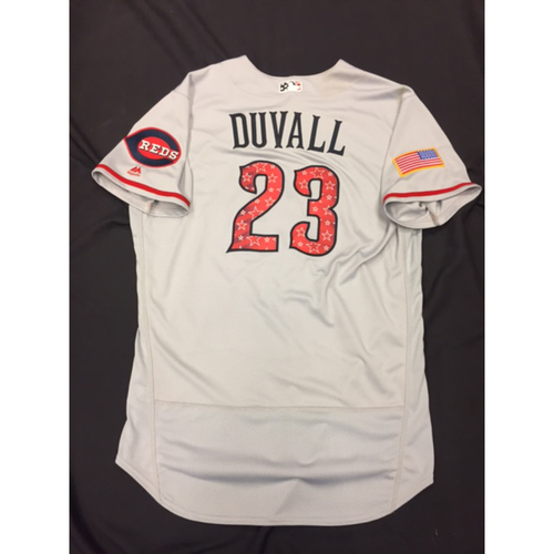 Photo of Adam Duvall -- Game-Used Stars & Stripes Road Jersey -- Reds @ Rockies on July 4, 2017