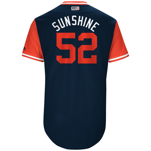 "Photo of Mike ""Sunshine"" Clevinger Cleveland Indians Game-Used Players Weekend Jersey"