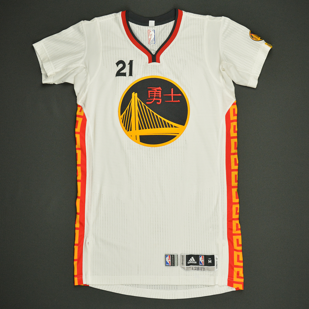 Ian Clark - Golden State Warriors - Game-Issued Chinese New Year Jersey - 2016-17 Season