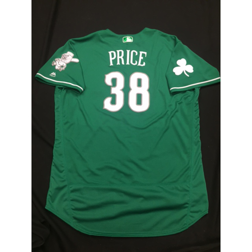 Photo of Bryan Price -- Game-Used -- Irish Heritage Jersey -- Worn for Bronson Arroyo Farewell Game -- Red Sox vs. Reds -- 9/23/17