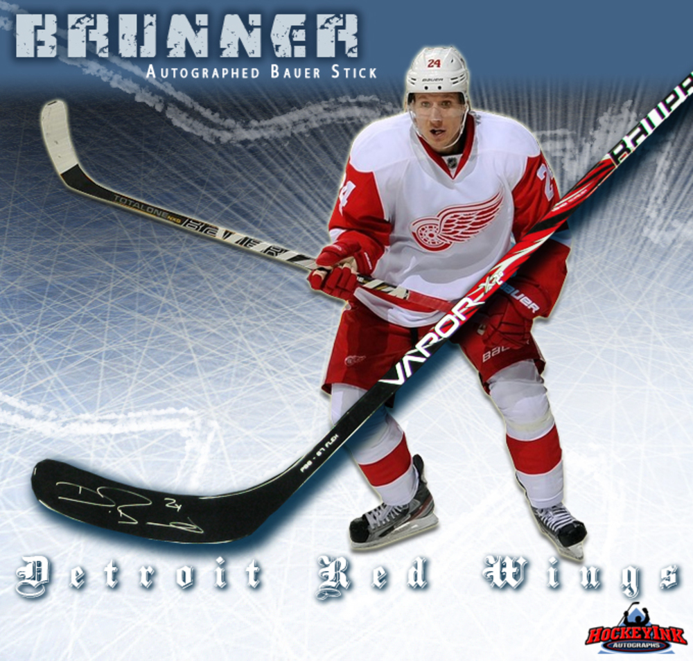 DAMIEN BRUNNER Signed Bauer Stick - Detroit Red Wings