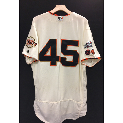 Photo of San Francisco Giants Matt Moore 2016 Game-Used Postseason Home jersey (size 48, authenticated NLDS Game #3 and NLDS Game #4 vs Cubs)