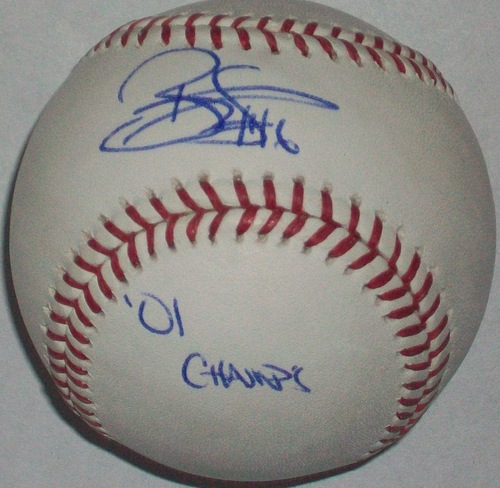 "Photo of Reggie Sanders ""01 Champs"" Autographed Baseball"
