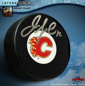 JAROME IGINLA Signed Calgary Flames Puck