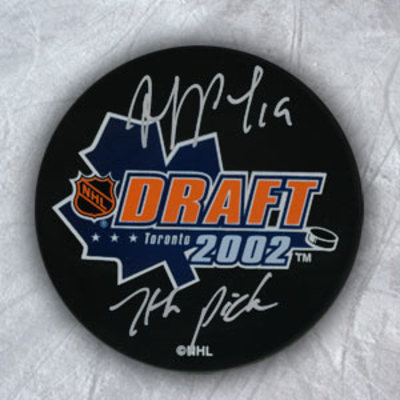 JOFFREY LUPUL 2002 NHL Draft Day Puck Autographed w/ 7th Pick Inscription
