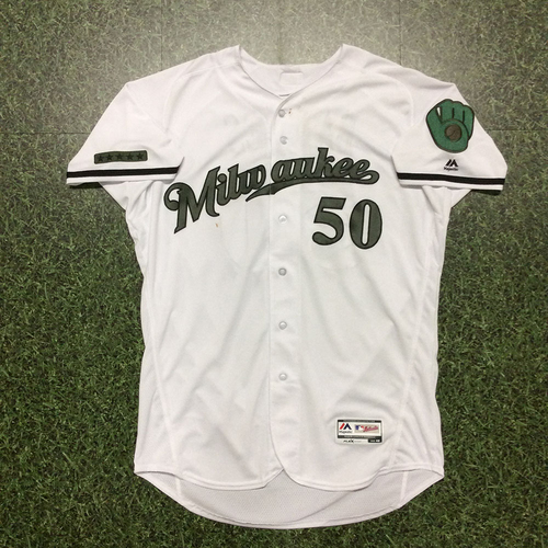 Photo of Jacob Barnes Memorial Day Tribute Game-Used Jersey - 1.1 IP, 0 R, 1 SO, 2nd Save of 2017 (05/28)