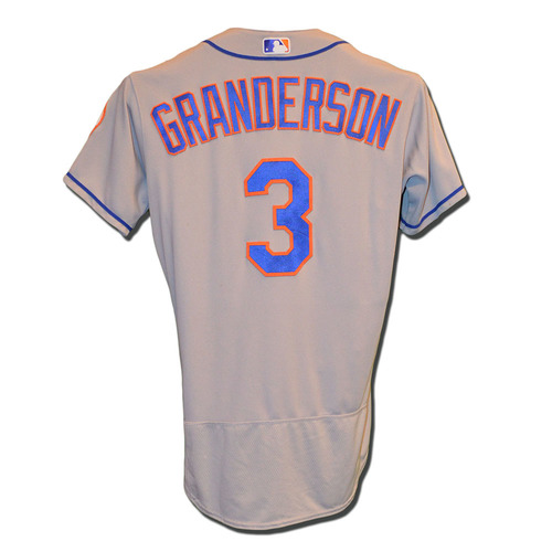 Photo of Curtis Granderson #3 - Game Used Road Grey Jersey - Granderson Hits 10th Home Run of 2017, 2 Runs Scored - Mets vs. Giants - 6/25/17