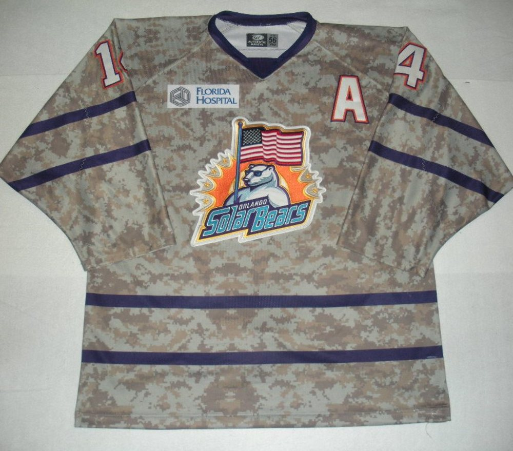 Orlando Solar Bears - Ian Slater - Military Appreciation Night Camo Game-Worn Jersey w/A