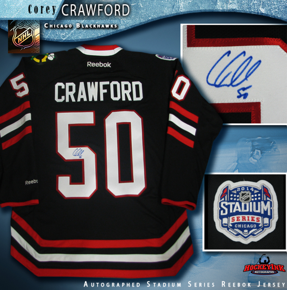 COREY CRAWFORD Signed Chicago Blackhawks 2014 NHL Stadium Series Black Reebok Jersey