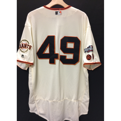 Photo of San Francisco Giants Javier Lopez 2016 Game-Used Postseason Home jersey (size 50, authenticated NLDS Game #3 and NLDS Game #4 vs Cubs)