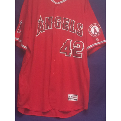 "Photo of Mike Scioscia Game-Used ""42"" Jersey - 4/15/17"