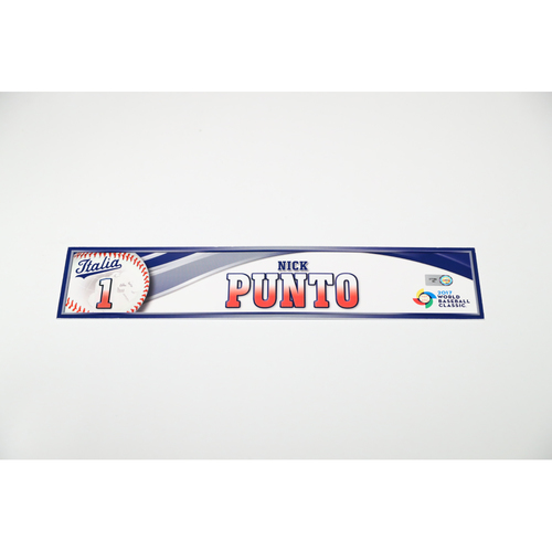 Photo of 2017 WBC: Italy Game-Used Locker Tag: Nick Punto #1