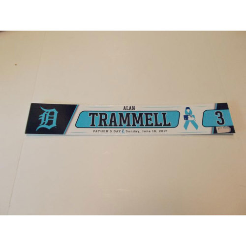 Photo of Team-Issued Alan Trammell Father's Day Locker Name Plate