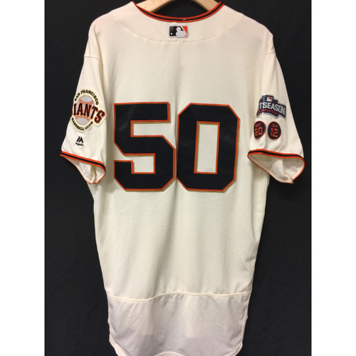 Photo of San Francisco Giants Ty Blach 2016 Game-Used Postseason Home jersey (size 46, authenticated NLDS Game #3 and NLDS Game #4 vs Cubs)