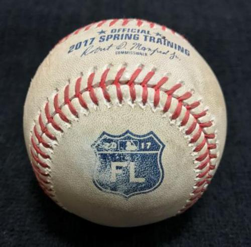 Photo of 2017 Spring Training Game-Used Baseball from Pirates vs Orioles on 3/3/17 - Cole to Machado, Foul Ball