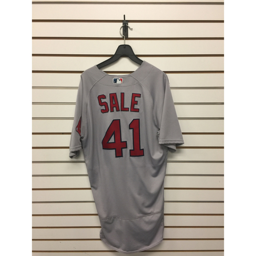 Photo of Chris Sale Game-Used May 30, 2017 Road Jersey - 6th win of the Season, 9Ks