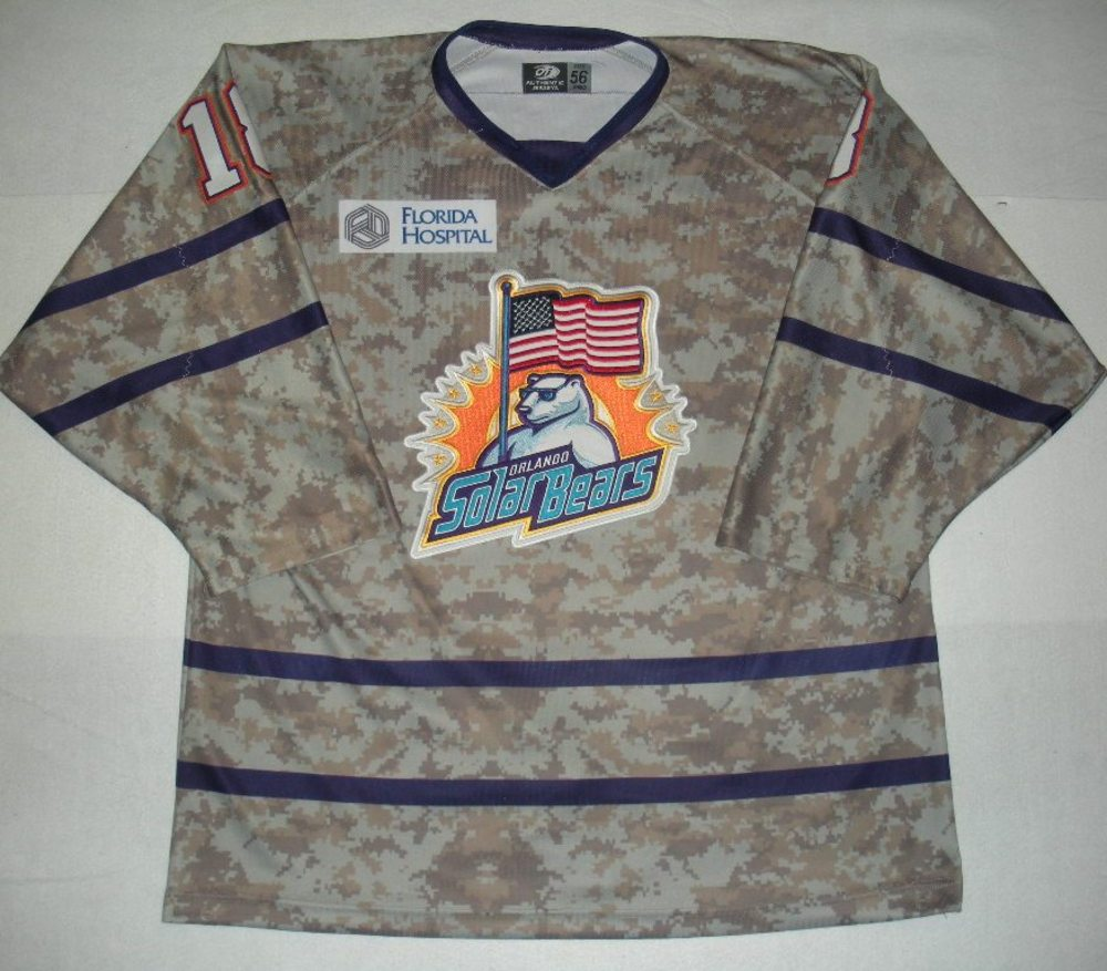 Orlando Solar Bears - Francis Verreault-Paul - Military Appreciation Night Camo Game-Worn Jersey