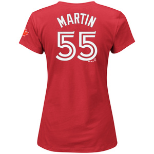 Women's Russell Martin Player T-Shirt Red by Majestic