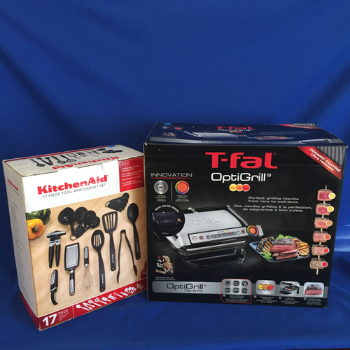 Photo of UMPS CARE AUCTION: T-Fal Optigrill Ceramic and Set KitchenAid 17-Piece Tool Set