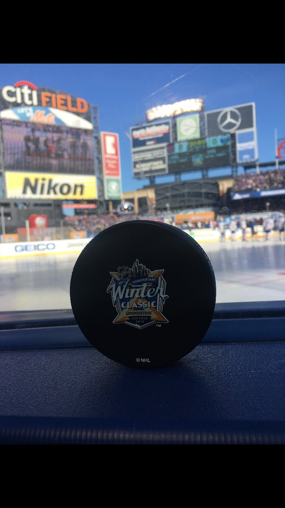 2018 NHL Winter Classic New York Rangers vs. Buffalo Sabres Warm Up-Used Puck