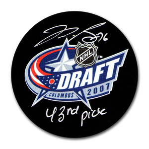 P.K. Subban Autographed 2007 NHL Entry Draft Puck w/43RD PICK Inscription (Montreal Canadiens)