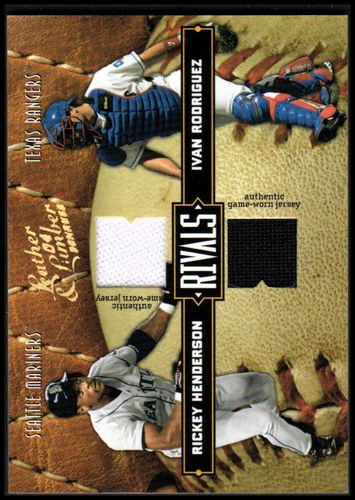 Photo of 2004 Leather and Lumber Rivals Materials #31 Rickey Henderson Jsy/Ivan Rodriguez Jsy/250