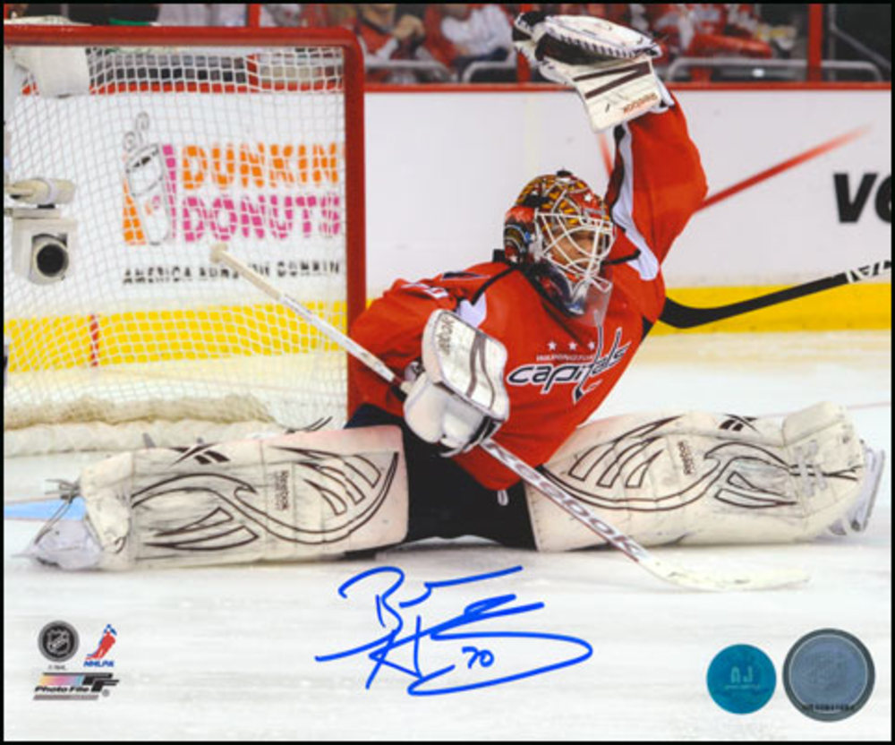 BRADEN HOLTBY Autographed Washington Capitals 8x10 Split Save Photo