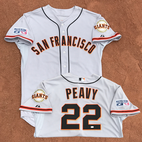 Photo of 2014 World Series Champion San Francisco Giants - 2014 NLCS Game 1 - Game-Used Jersey - Jake Peavy