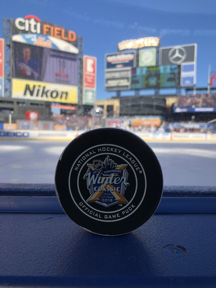 New York Rangers vs. Buffalo Sabres 2018 NHL Winter Classic Game-Used Puck - First Puck Collected