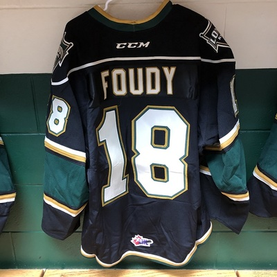 Liam Foudy 2016-2017 Black Game Jersey