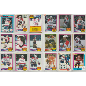 Lot of 1980s Washington Captials O-PEE-CHEE Hockey Cards - Rod Langway, Dino Ciccarelli, Mike Gartner (RC) - 58+