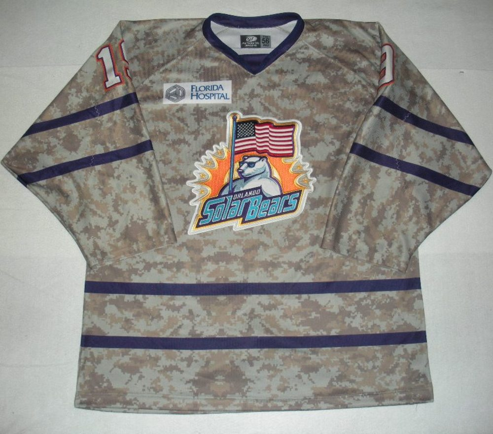 Orlando Solar Bears - Zachary Yuen - Military Appreciation Night Camo Game-Worn Jersey