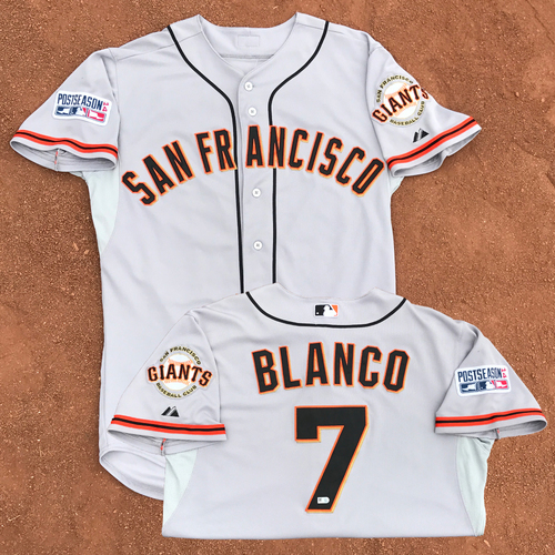 Photo of 2014 World Series Champion San Francisco Giants - 2014 NLCS Game 2 - Game-Used Jersey - Gregor Blanco - 2 for 5, 1 RBI