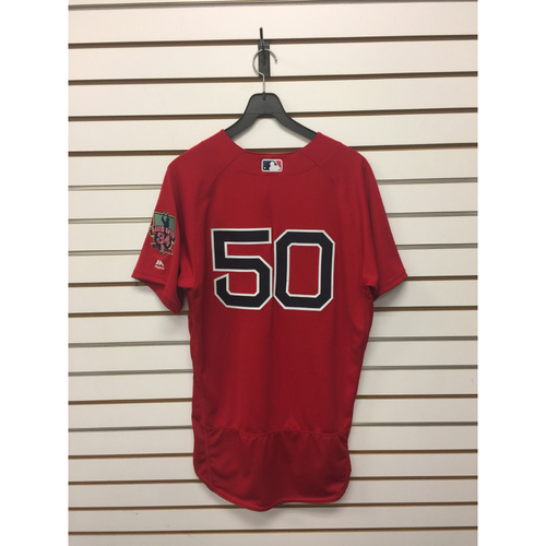 Photo of Mookie Betts Game-Used September 30, 2016 Home Alternate jersey with David Ortiz Final Season Patch