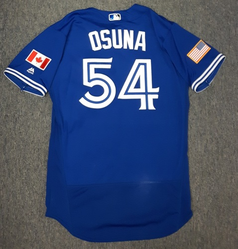 Photo of Authenticated Game Used Independence Day Jersey - #54 Roberto Osuna (July 4, 2016)