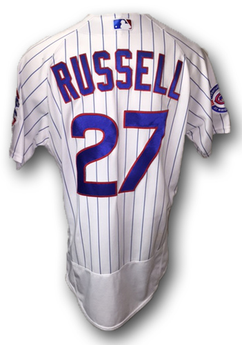 Photo of Addison Russell Game-Used Jersey -- Russell 2 HR, 3 RBI -- Reds vs. Cubs -- 7/5/16