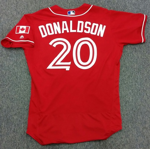 Photo of Authenticated Game Used Baseball Day in Canada Jersey - Josh Donaldson - 3-4 with 3 HRs, 4 RBIs, and 3 Runs