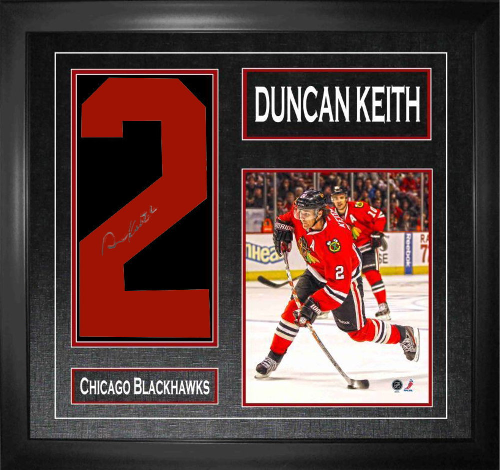 Duncan Keith - Signed & Framed Number Print & Action Photo - Chicago Blackhawks