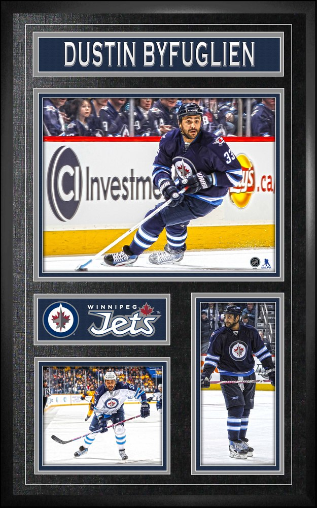 Dustin Byfuglien - Framed Vertical Collage Print Winnipeg Jets