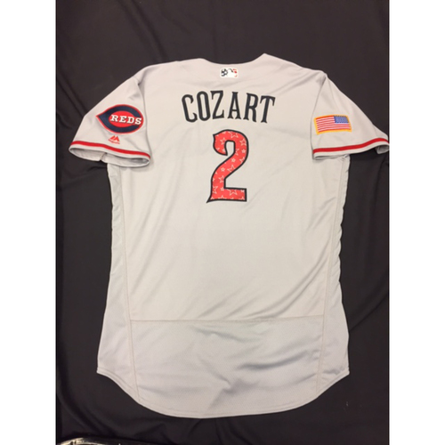 Photo of Zack Cozart -- Game-Used Stars & Stripes Road Jersey -- Reds @ Rockies on July 4, 2017