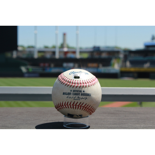 Photo of Game-Used Ramon Torres Single: Bottom 1st Inning (7/1/17 MIN at KC)
